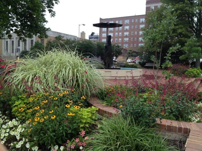 One of the beautiful U City in Bloom gardens, in this picture enhancing Rain Man by the post office.  (Photo courtesy of U City in Bloom.)