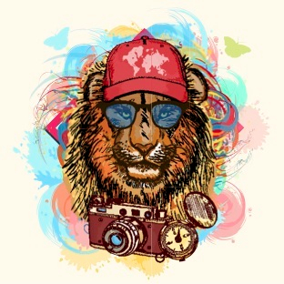 lion with cap-camera